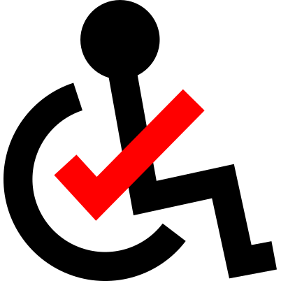 The Accessible Activism Checklist logo: A standard accessible icon depicting a person in a wheelchair; a red checkmark is centered in the wheel and forms the person's arm.