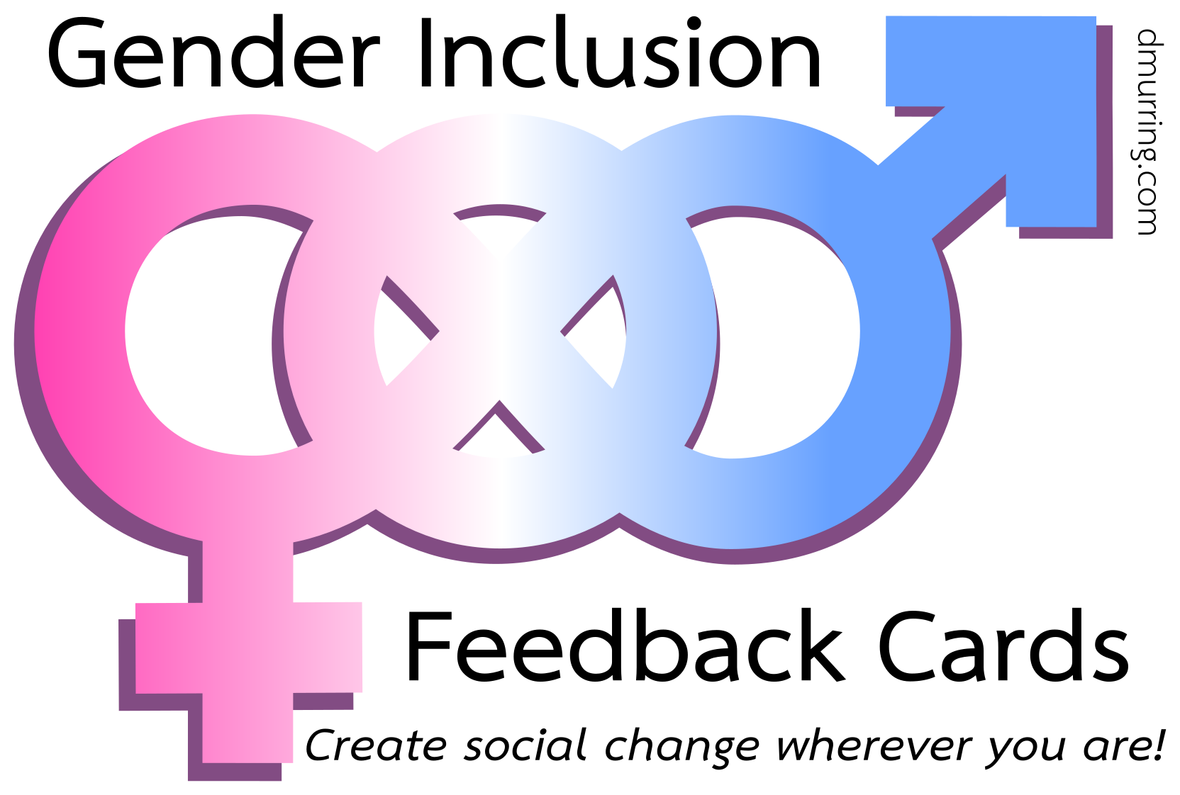 Gender Inclusion Feedback Cards logo: a symbol combining the standard male and female symbols to include nonbinary and null gender identities